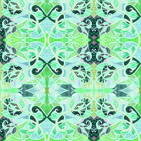 When Lady Guinevere Speaks in Green and Aqua fabric by edsel2084 on Spoonflower - custom fabric