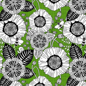 floral_coloring_book_poppies_green