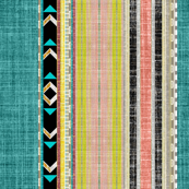 Tribal linen Stripe in Teal, Citron and Peach