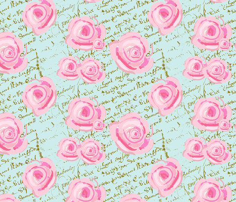 Pink Cabbage Roses on French Script fabric by karenharveycox on Spoonflower - custom fabric