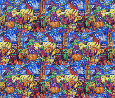 Green Witch And Cats fabric by diconnollyart on Spoonflower - custom fabric