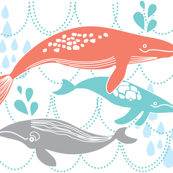 Whales Swimming Coral, Mint and Grey