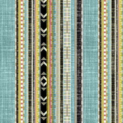 Aztec Linen Stripe  fabric by joanmclemore on Spoonflower - custom fabric