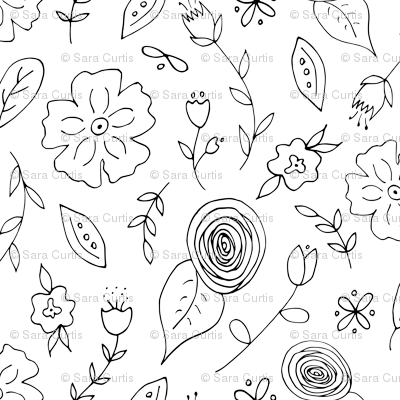 Folk Flowers Coloring Paper