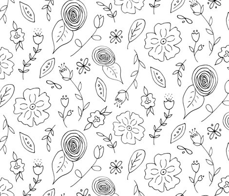 Folk Flowers Coloring Paper fabric by radianthomestudio on Spoonflower - custom fabric