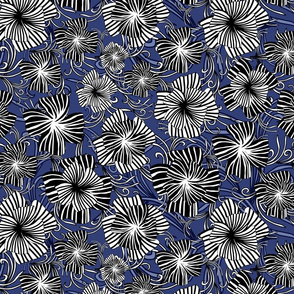 monotone floral on navy
