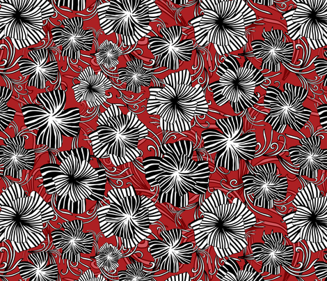monotone floral on red fabric by kociara on Spoonflower - custom fabric