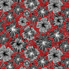 monotone floral on red