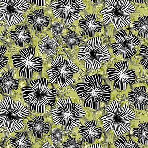 monotone floral on aquamarine