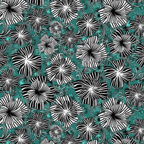 monotone floral on green
