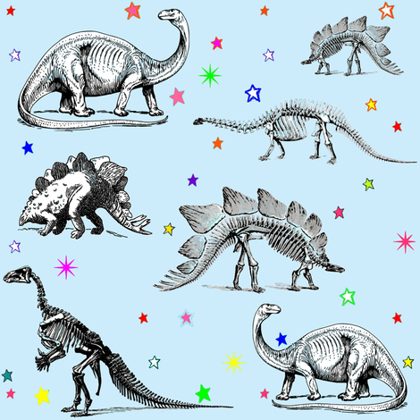 Vintage Dinosaur Skeletons, Colorful Stars on Baby Blue fabric by bohobear on Spoonflower - custom fabric