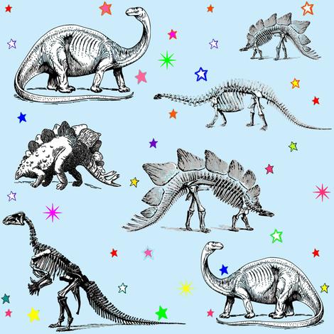 Vintage Dinosaur Skeletons, Colorful Stars on Baby Blue fabric by bohobear on Spoonflower - custom fabric