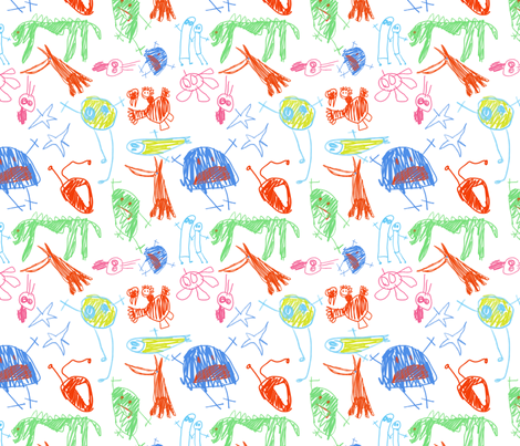 Kid's monsters fabric by aliceelettrica on Spoonflower - custom fabric