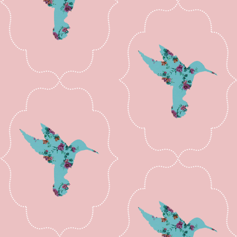 floral hummingbird fabric by ajoyfulriot on Spoonflower - custom fabric