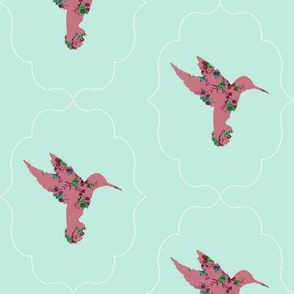 Floral Hummingbird in Mint