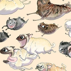 "4"" pugs on the run - oatmeal"