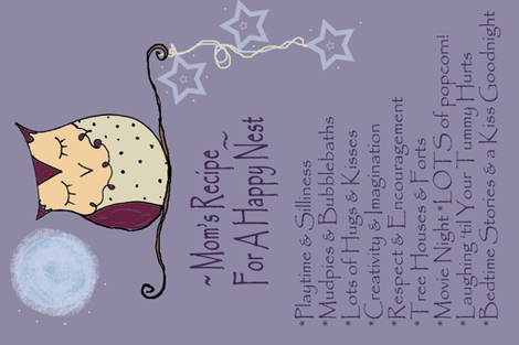 Mom's Recipe Owl Tea Towel  fabric by therustichome on Spoonflower - custom fabric