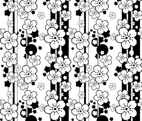 Sakura Stripe black and white fabric by beesocks on Spoonflower - custom fabric