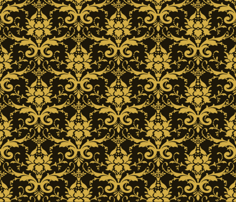 PURRFECT BLACK DAMASK fabric by bluevelvet on Spoonflower - custom fabric