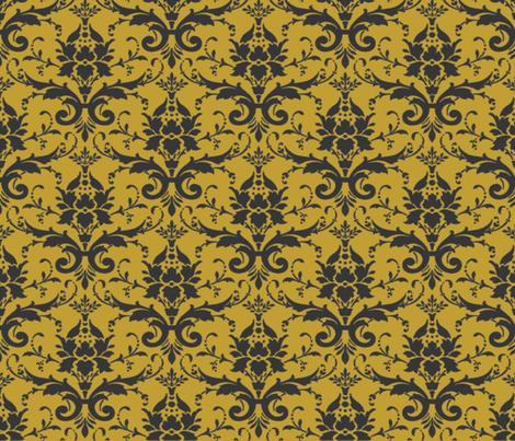 PURRFECT GOLDEN DAMASK fabric by bluevelvet on Spoonflower - custom fabric