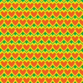 pixel hearts-green red-yellow