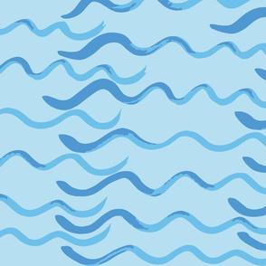 Watercolor Waves at Sea