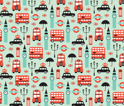 London city travel icon fabric by littlesmilemakers on Spoonflower - custom fabric