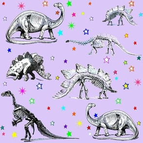 Vintage Dinosaur Skeletons, Colorful Stars on Lavender