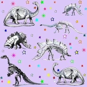 Vintage Dinosaur Skeletons, Colorful Stars on Lavender