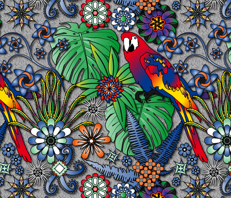 Jungle Flowers (Bright Colors) fabric by vannina on Spoonflower - custom fabric