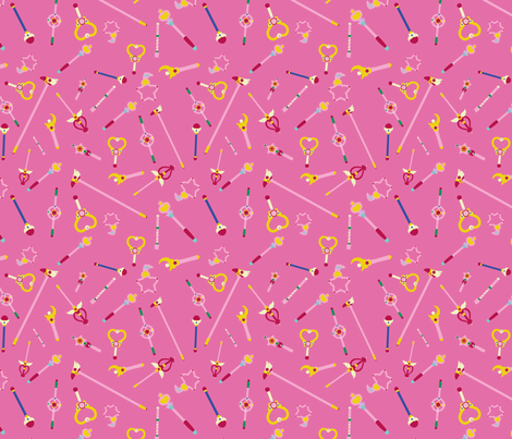 Majokko wands - pink fabric by aliceelettrica on Spoonflower - custom fabric