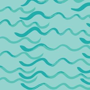 Watercolor Waves in Sea Green