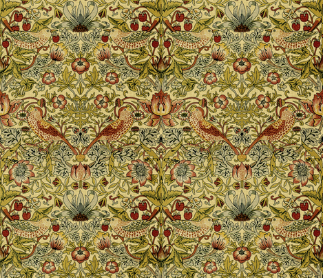 William Morris ~ Strawberry Thief ~ Trianon Cream ~ Linen Luxe fabric by peacoquettedesigns on Spoonflower - custom fabric