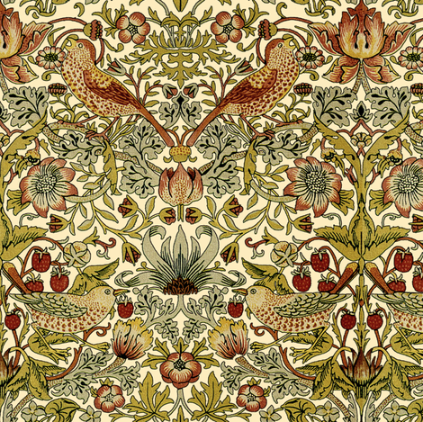 William Morris ~ Strawberry Thief ~ Trianon Cream fabric by peacoquettedesigns on Spoonflower - custom fabric