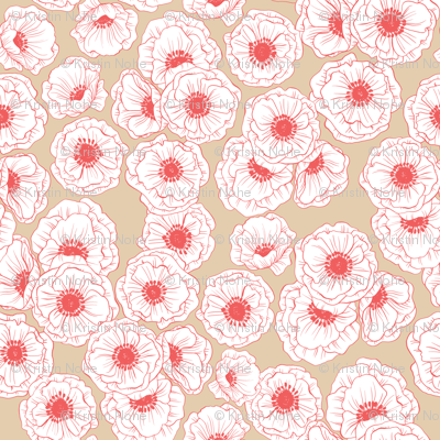 poppies - coral and tan