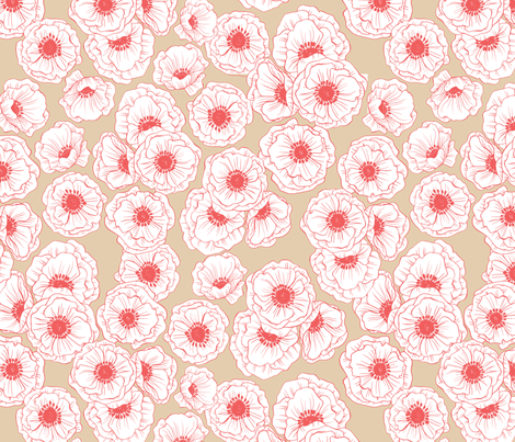 poppies - coral and tan fabric by kristinnohe on Spoonflower - custom fabric