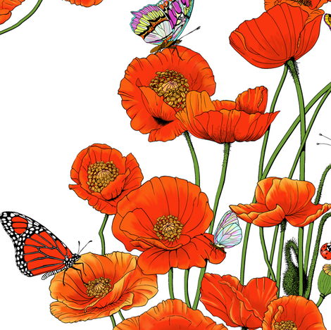 Wall Flowers with Friends. fabric by art_on_fabric on Spoonflower - custom fabric