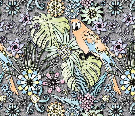 Jungle Flowers (Pastel Colors) fabric by vannina on Spoonflower - custom fabric