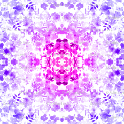 Floral Watercolour Kaleidescope - Large Flower Print in Purple and Magenta