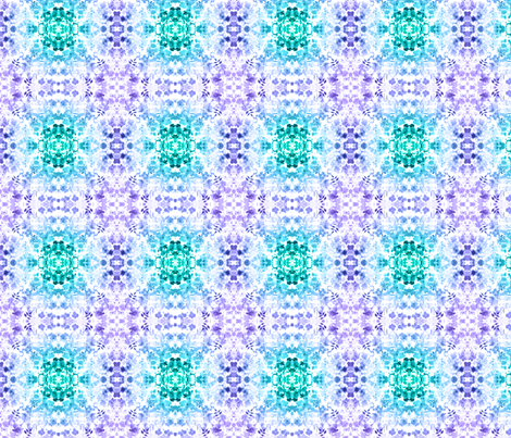 Floral Watercolour Kaleidescope - Small Flower Print in Purple and Teal fabric by thecumulusfactory on Spoonflower - custom fabric
