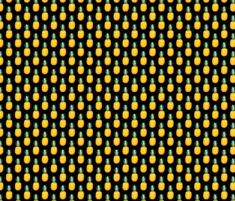 Pineapple photo repeating pattern - Tropical fruit print on black background fabric by thecumulusfactory on Spoonflower - custom fabric