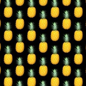 Pineapple photo repeating pattern - Tropical fruit print on black background