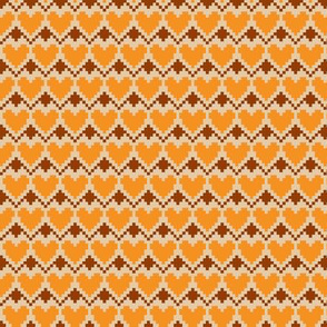 pixel hearts orange brown