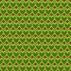 pixel hearts green