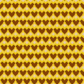 pixel hearts yellow brown