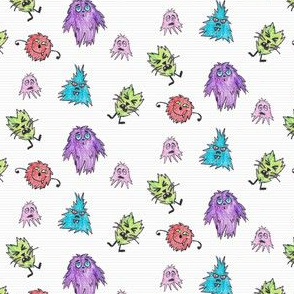 Crayon Drawn Q-T Monsters