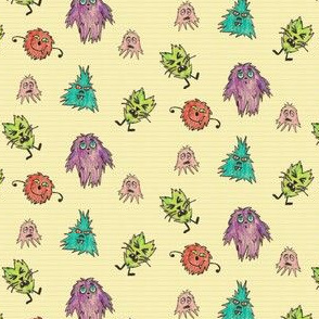 Crayon Drawn Q-T Monsters on Yellow