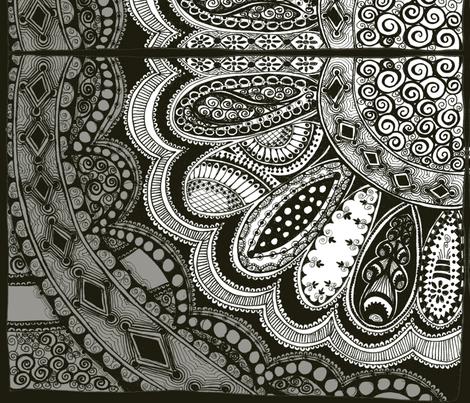 Zentangle Coloring Flower Fabric Joonmoon Spoonflower