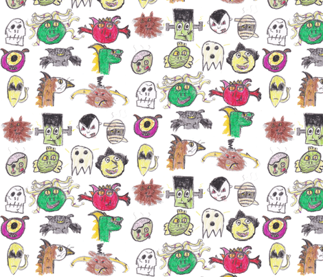 Classic Monsters in Crayon fabric by eislinn on Spoonflower - custom fabric