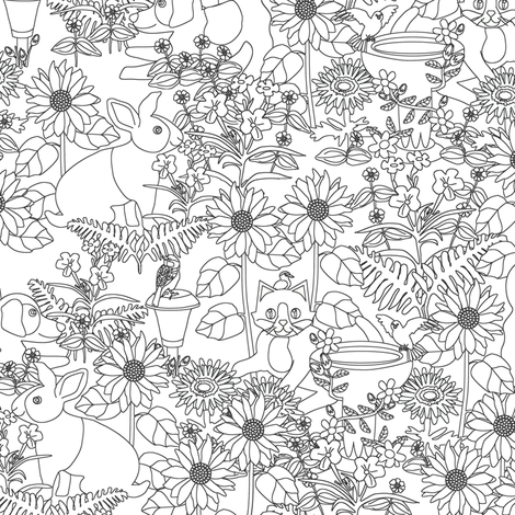 Pets and Petals fabric by eclectic_house on Spoonflower - custom fabric